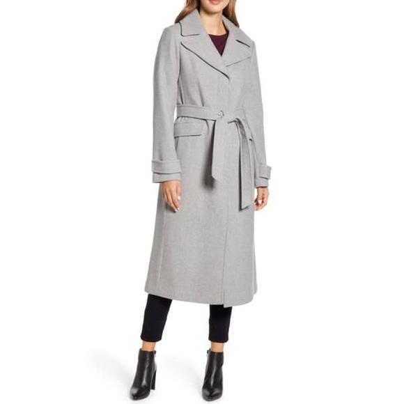 NWT Kate Spade Belted Wool Blend Coat Heather Grey